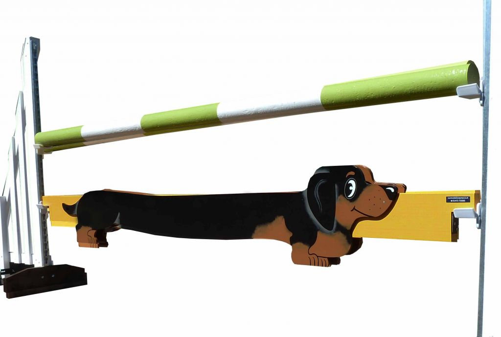Sausage dog filler black and tan on yellow