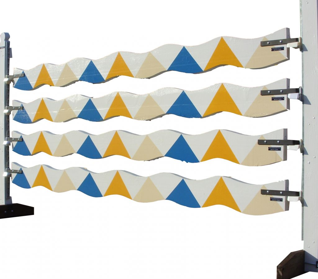 Wavy planks with wiggly blue yellow & cream sharks teeth