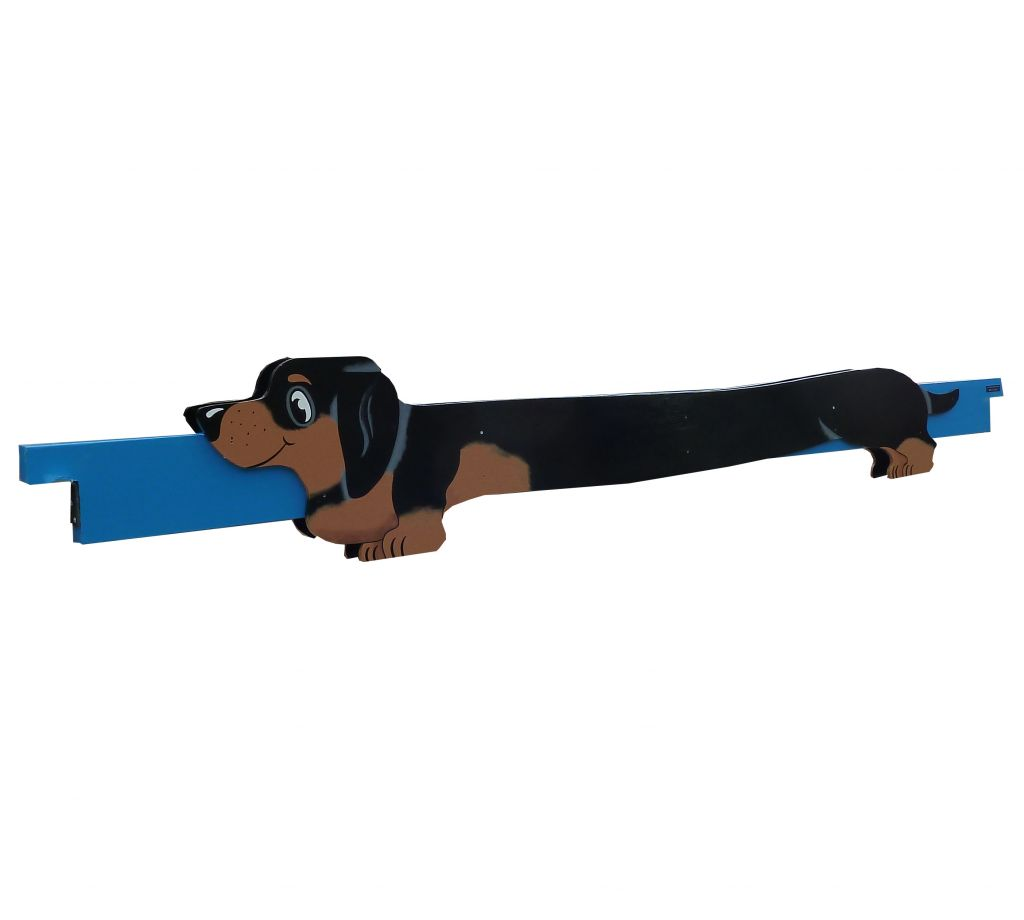 Sausage dog filler black and tan on blue