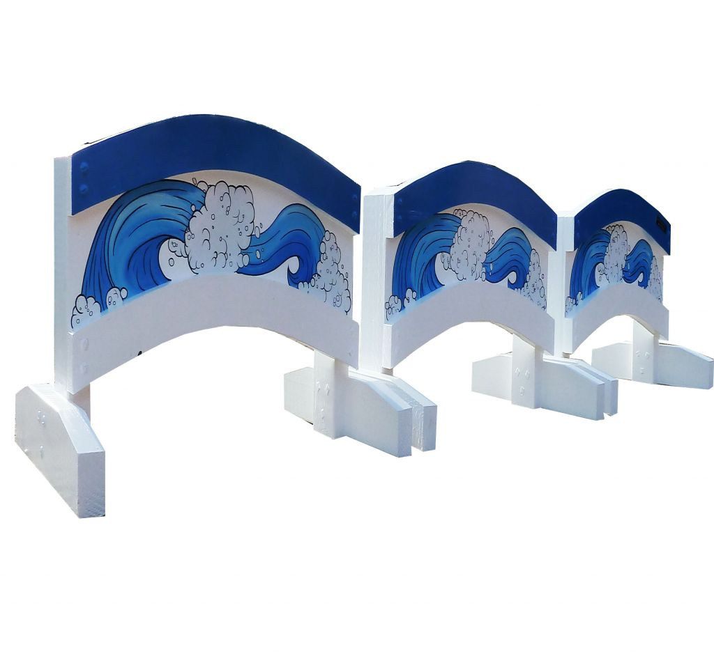 Set of 3 Double Arch fillers with blue waves