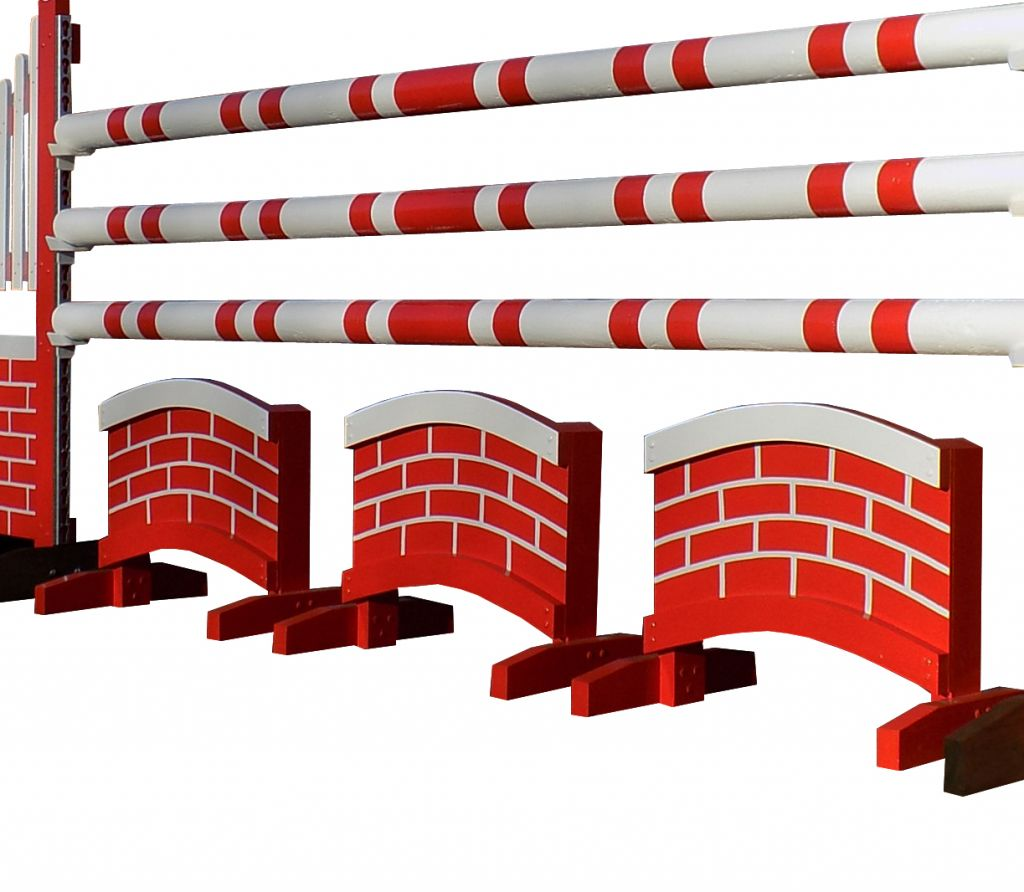 Set of 3 Double Arch fillers with red brick design