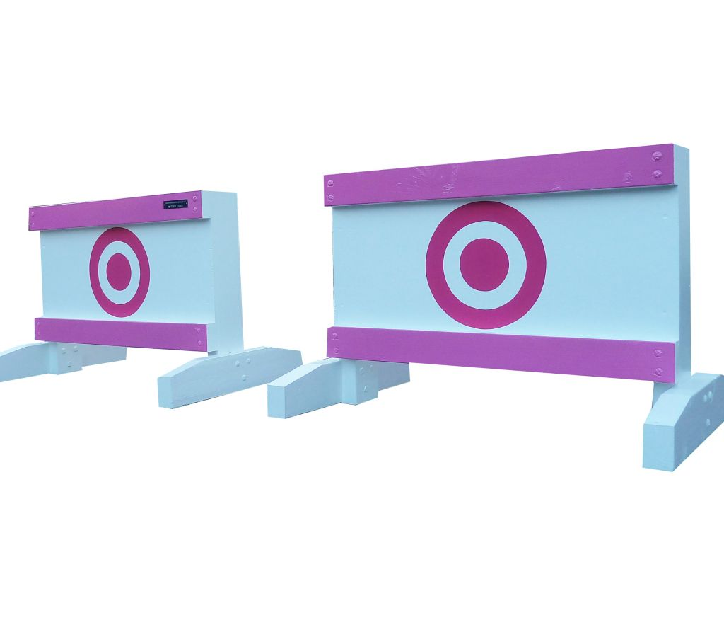 Pair of mini fillers with bright pink bullseye