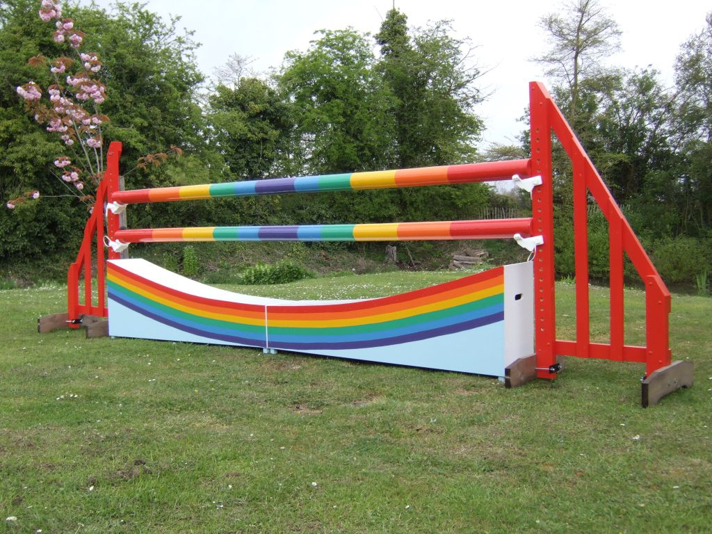 Rainbow poles with rainbow Dipping wall infill.