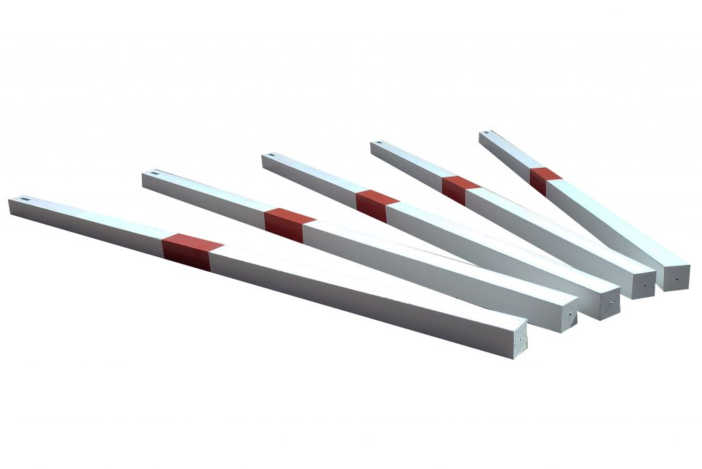 Square trot poles painted white & red