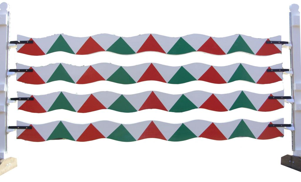 Wavy planks with wiggly red & green sharks teeth