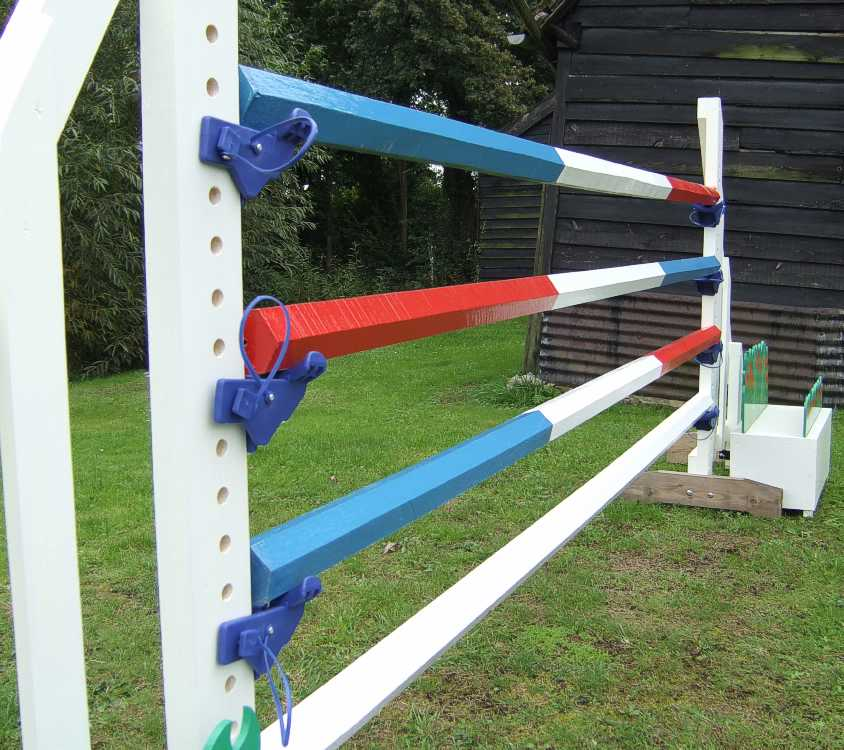 A selection of triple hoop and single colour Hexagonal poles 75mm diameter.