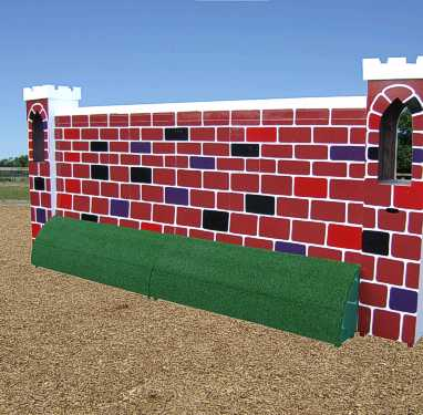 BSJA International Puissance shown here with castle pillars and wall bank