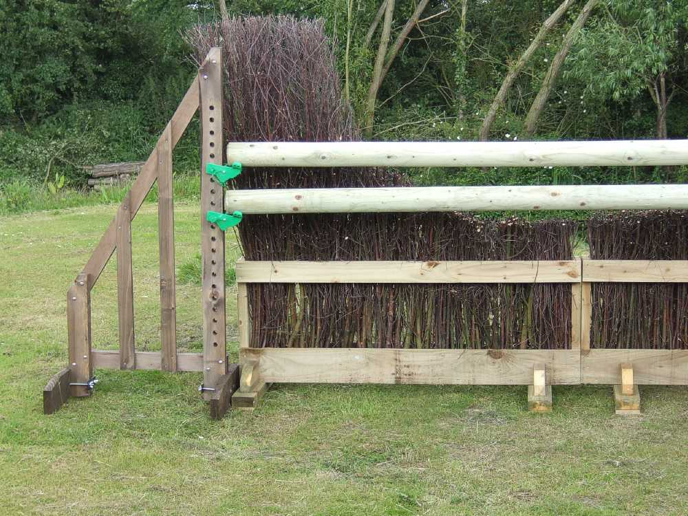 Birch timber show-jump brush fence
