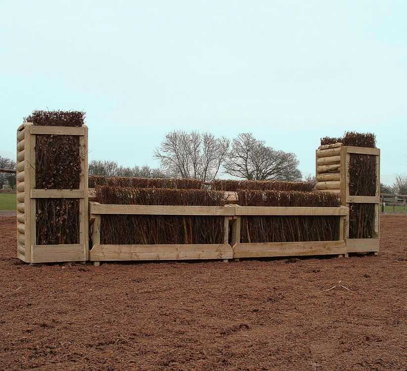 Hedge cross country fence with matching pillars