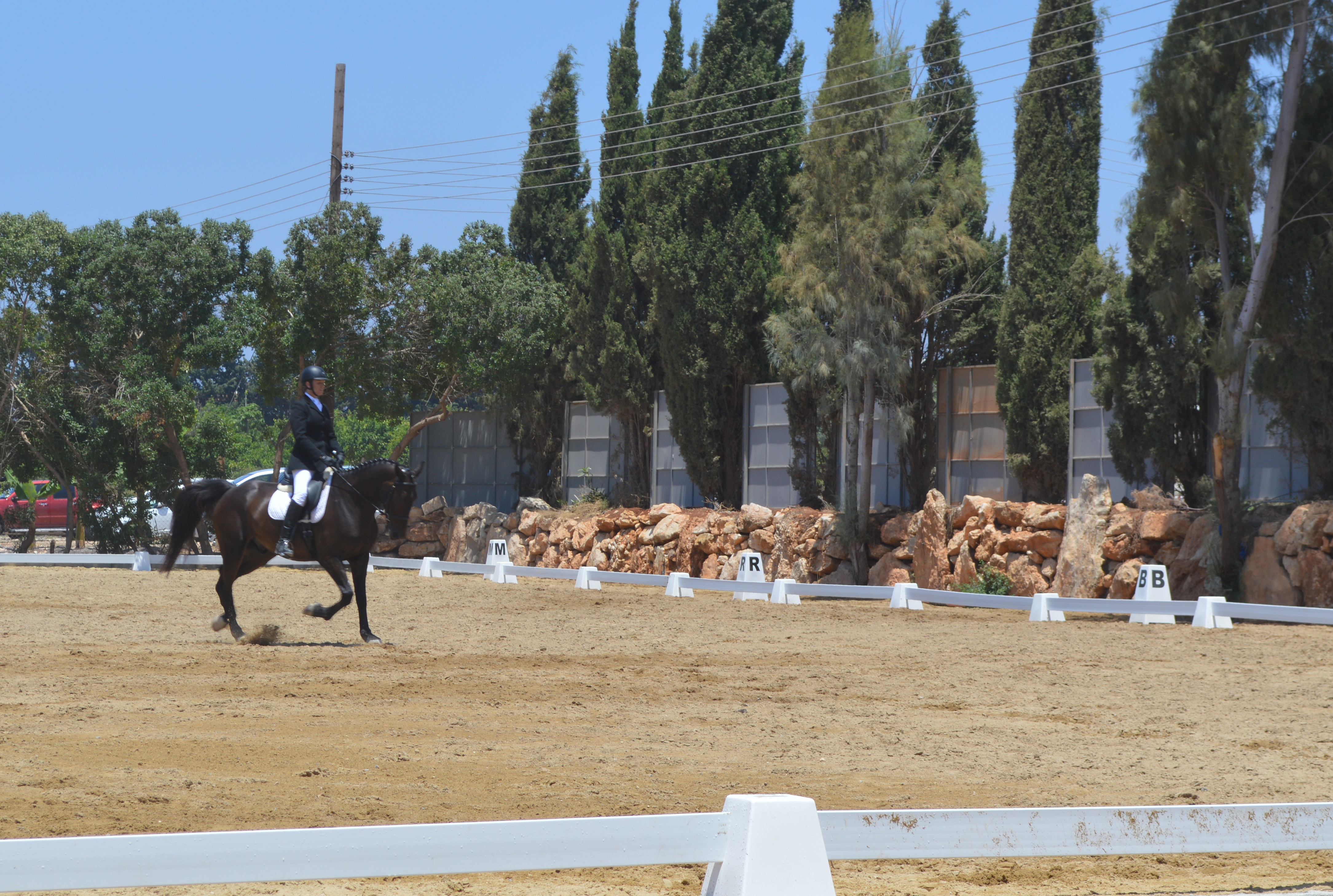 Dressage arena with towers in Cyprus