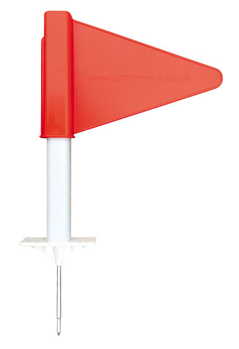 Running marker with red flag
