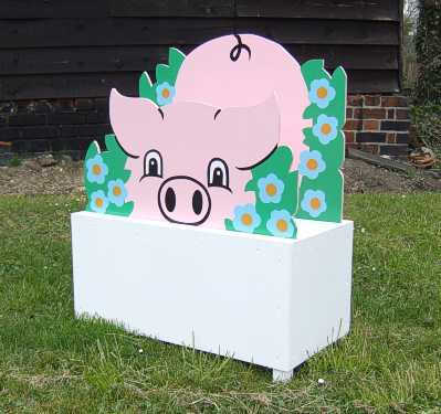 Flower boxes with pigs