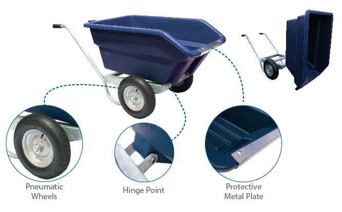 250L Tipping Wheelbarrow in blue