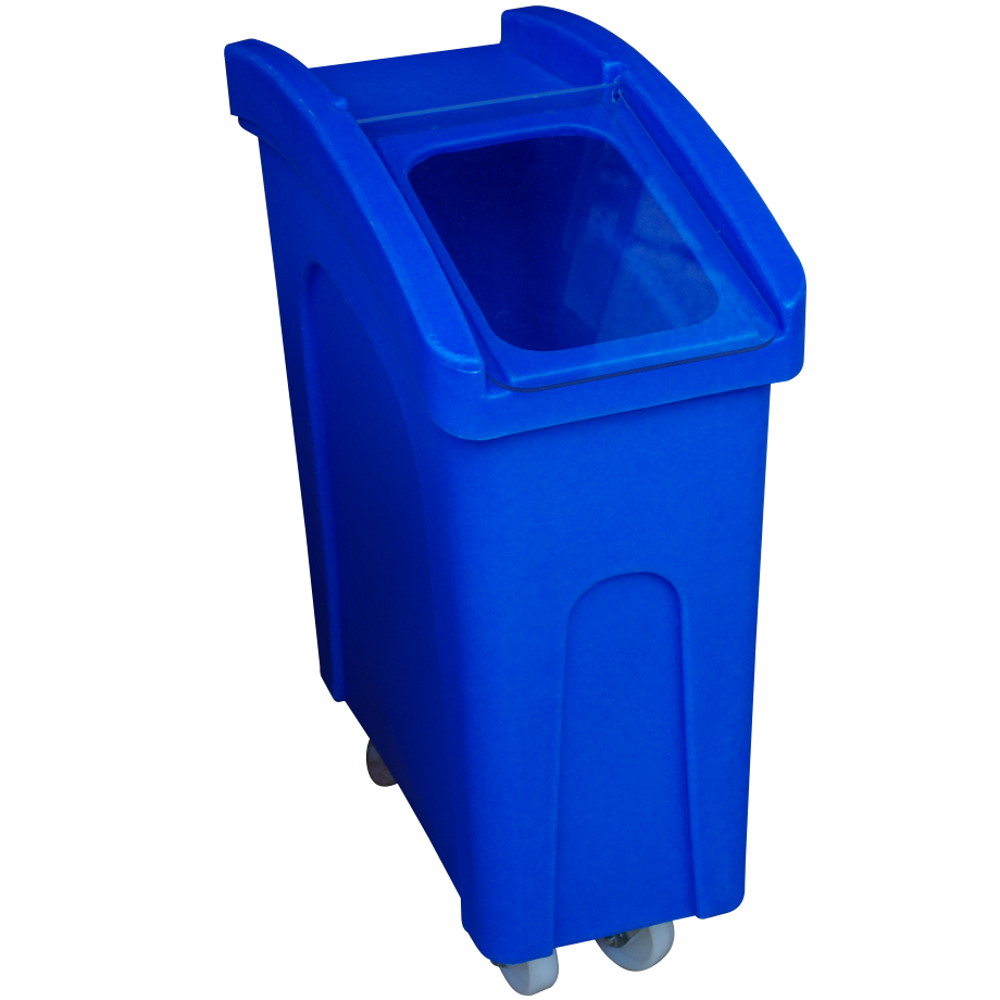 Small wheeled feed bin in blue