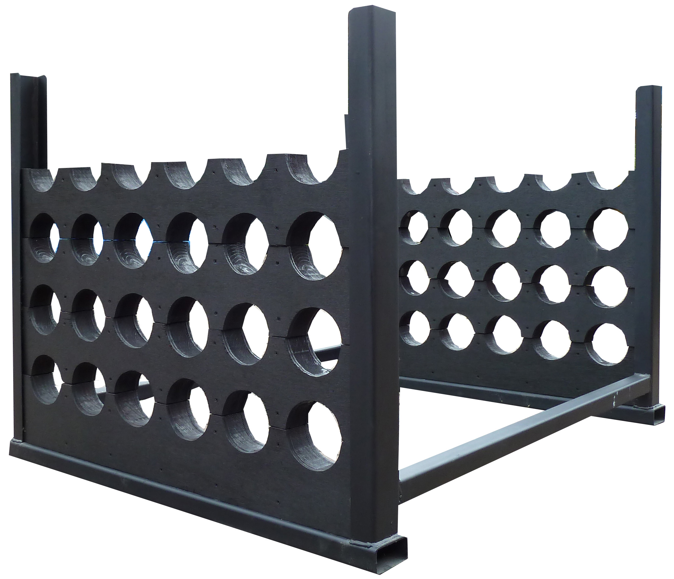 Equi rack with dividers for 24 poles in black